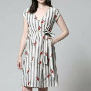 Fate By LFD Midi Wrap Dress Floral Embroidered M